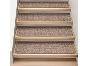 Set of 15 Attachable Indoor Carpet Stair Treads - Praline Brown  - 8 In. X 23.5 In.
