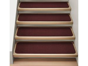 Set of 15 Attachable Indoor Carpet Stair Treads - Burgundy Red - 8 In. X 27 In.