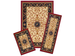 Capri Area Rug: 35/372-W Wrought Iron Medallion: 3 Piece Set