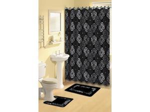 Home Dynamix Bath Boutique Shower Curtain and Bath Rug Set: 1574-480 Black Gray: 15 Piece Bath Set