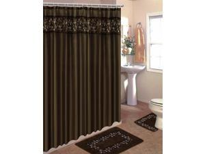 Home Dynamix Home Design Shower Curtain and Bath Rug Set: HE15SV Vine Brown-Beige: 15 Piece Bath Set