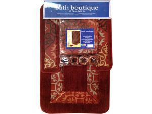 Home Dynamix Bath Boutique Shower Curtain and Bath Rug Set: 1574-213 Brick Red: 15 Piece Bath Set