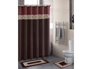 Home Dynamix Designer Bath Shower Curtain and Bath Rug Set: DB15D-246 Diamond Rust-Brown: 15 Piece Bath Set