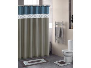 Home Dynamix Designer Bath Shower Curtain and Bath Rug Set: DB15D-329 Diamond Blue-Beige: 15 Piece Bath Set