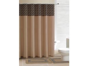 Home Dynamix Designer Bath Shower Curtain and Bath Rug Set: DB15L-150 Leopard Beige: 15 Piece Bath Set