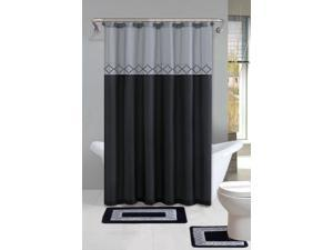 Home Dynamix Designer Bath Shower Curtain and Bath Rug Set: DB15D-456 Diamond Gray Black: 15 Piece Bath Set
