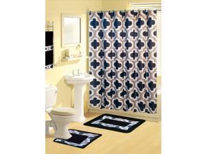Home Dynamix Boutique Deluxe: Shower Curtain and Bath Rug Set: BOU23 Lattice Gray-Black