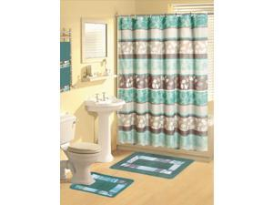 Home Dynamix Boutique Deluxe: Shower Curtain and Bath Rug Set: BOU25 Zen Turquoise