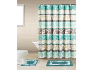 Home Dynamix Bath Boutique Shower Curtain and Bath Rug Set: BQ06 Zen Turquoise