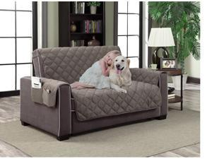 "Home Dynamix Slipcovers: All Season Quilted Microfiber Pet Furniture Couch Protector Cover - Gray, 110"" x 70"" (Sofa)"