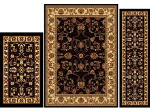 Home Dynamix Area Rugs: Ariana Rug: 812 Traditional Vine Border Ebony-Ivory: 3 Piece Set