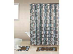 Home Dynamix Bath Boutique Shower Curtain and Bath Rug Set: BQ01 Helix Blue