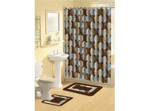 Home Dynamix Bath Boutique Shower Curtain and Bath Rug Set: 339-309 Metro Lights Blue: 15 Piece Bath Set