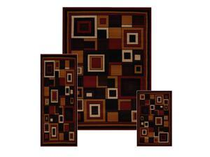 Home Dynamix Area Rugs: Ariana Rug: 7543 Modern Geometric Squares Red: 3 Piece Set