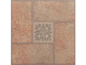 Creative Home: Nexus Vinyl Self Stick Tile: 421 Beige Terracotta Center Motif: 1 Box 20 Tiles: Covers 20 Sq. Ft.