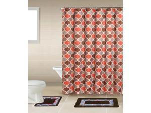 Home Dynamix Bath Boutique Shower Curtain and Bath Rug Set: BQ03 Trellis Multi-Color