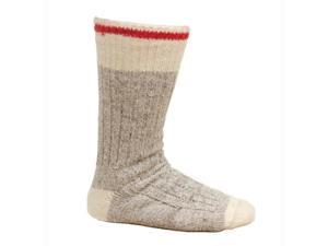 Women's Wool Blend Work Socks Natural Gray With Red Stripe - Size 9-10