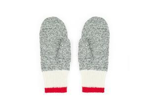 Wool Mitts Style 2020: Light Gray with Red Stripe - 70% Wool and 30% Polypropylene, Large