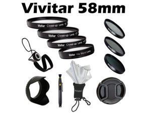 Vivitar 58mm Close-Up Macro +1 +2+ 4+10 Filter and 3-Piece UV CPL ND Multi-Coated Filter Kit