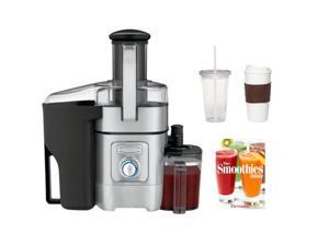 Cuisinart CJE-1000 Juice Extractor + 2-Pack Coffee Mug & Iced Beverage Cup + The Smoothies Bible By Pat Crocker