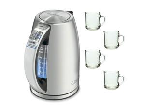 Cuisinart CPK-17 Refurbished Perfectemp Cordless Electric Kettle with 4pcs 10oz ARC Handy Glass Coffee Mug