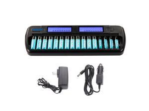 Knox 16 Bay Smart Fast Charging Ni-MH AA/AAA Battery Charger With 12AA & 4AAA Rechargeable Batteries