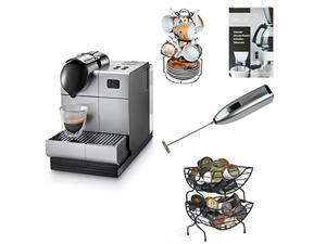 DeLonghi Silver Lattissima Plus Nespresso Capsule System with 13-Pc Espresso Set, Coffee Baskets, Coffee/ Espresso Descaler, and Handheld Milk Frother