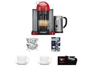 Nespresso VertuoLine AGCA1USRENE Espresso Machine (Red) w/ Aeroccino Plus + Nifty 6650 Single Serve Coffee Baskets + Accessory Kit