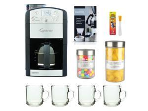 Capresso 465 CoffeeTeam TS 10-Cup Digital Coffeemaker Bundle with Brushtec Coffee Grinder Dusting Brush + Urnex Dezcal Home Activated Descaler + Kit