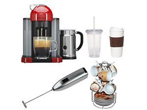 Nespresso VertuoLine with Aeroccino Plus A+GCA1-US-RE-NE (Red) with 13-Pc Espresso Set, Knox Handheld Milk Frother, Coffee Mug, and Iced Beverage Cup