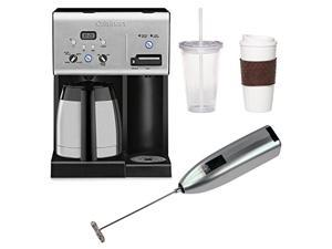 Cuisinart CHW-14 Coffee Plus 10-Cup Thermal Programmable Coffeemaker and Hot Water System with Coffee Mug & Iced Beverage Cup Two Pack and Knox Handheld Milk Frother