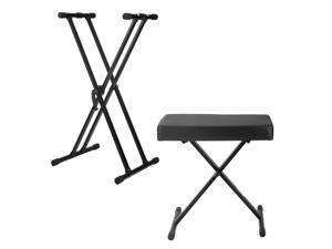 Knox Adjustable Double X Keyboard Stand with Bench