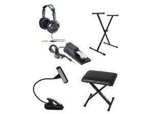 Mighty Bright HammerHead Light Black + On Stage Keyboard Piano Style Sustain Pedal & Single-X X-Style Keyboard Stand + Full-Size Headphone