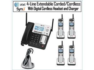 AT&T SB67118/SB67138 4-Line Corded-Cordless Phone System with Headset Kit