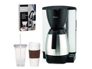 Capresso 48505 MT600 Plus 10-Cup Programmable Coffee Maker with Thermal Carafe + Coffee Mug & Iced Beverage Cup + Coffee/ Espresso Descaler