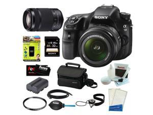 "Sony a58 SLT-A58K SLT-A58 with 18-55mm Zoom Lens 20.1MP DSLR   Camera w/ 2.7"" LCD Screen (Black) + Sony SAL-55300 DT 55-300mm f/4.5-5.6 Zoom Lens + Sony 32GB   Memory Card + Sony Case + Accessories"