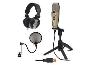 CAD Audio U37 USB Studio Recording Microphone with Audio Microphone Pop Filter & Full-Size Headphones