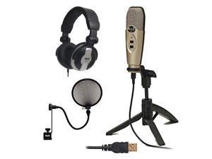 CAD Audio U37 USB Studio Recording Microphone with Audio Microphone Pop Filter & Full-Size Headphones