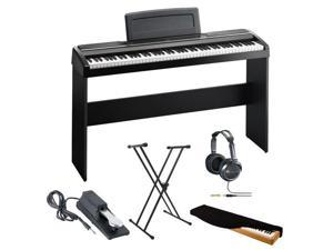 Korg SP170SBK 88-key Digital Slab Piano w/ Speakers in Black + Lok-Tight Squeeze X-Style Keyboard Stand + Full-Size Headphones (Black) + Keyboard Piano Style Sustain Pedal + Kit