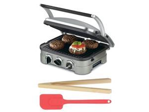 """Cuisinart GR4NFR GR-4N 5-in-1 Griddler + 6.5"""" Long Bamboo Toast Tong + 10.5"""" Silicone Spatula in Cherry"""