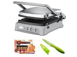 Cuisinart GR-150 Griddler Deluxe in Brushed Stainless + Measuring Spoons Spice Set + Paring Knife w/ Sheath (Lime Green)
