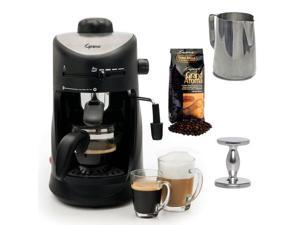 Capresso 303.01 Capresso 4-cup Espresso Cappuccino Machine with New 20 oz Espresso Coffee Milk Frothing Pitcher + Espresso Tamper (CD) and Whole Bean Coffee (8.8oz) Swiss Roast Regular