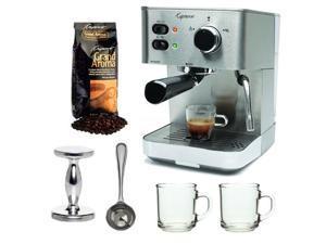 Capresso EC PRO 118.05 Professional Espresso & Cappuccino Machine with Grand Aroma Whole Bean Coffee (8.8oz),Espresso, Coffee Measure, ESPRESSO TAMPER (CD) with 2 pcs 10oz Handy Glass Coffee Mug