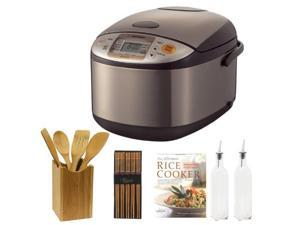 Zojirushi NSTSC10XA Micom 5.5 Cup Rice Cooker/Warmer + Ultimate Rice Cooker Cookbook + 5 Piece Bamboo Finish (Fork, Spoon, Spatula) + Helens Asian Kitchen Silk Wrapped Chopsticks (5 Pairs) + More