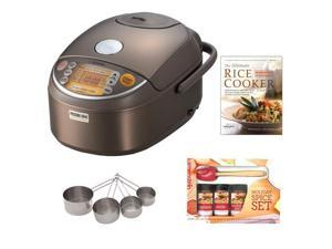 Zojirushi NP-NVC10 Induction Heating Pressure Rice Cooker & Warmer + Cooking Book + Spatula Spice Set + Stainless Measuring Cup Set