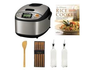 Zojirushi NS-LAC05 Micom 3-Cup Rice Cooker and Warmer Bundle with Cookbook + Silk Wrapped Chopsticks + 2 Oil & Vinegar Bottles + Bamboo Spatula Spoon
