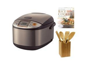 Zojirushi NS-TSC10 5-1/2-Cup (Uncooked) Micom Rice Cooker and Warmer + Bamboo Utensil Set + Rice Cooker Book