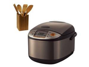Zojirushi NSTSC18XA Micom 10-cup Rice Cooker/Warmer Stainless Brown + Tool Set 5 Piece Bamboo Finish
