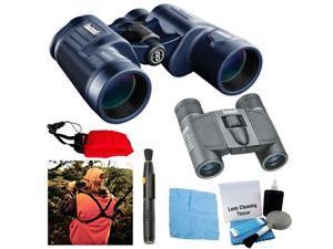 Bushnell H2O Waterproof 10X42 Bak4 Porro Prism Binoculars with Bushnell Powerview 8x21 Binoculars + Accessory Bundle