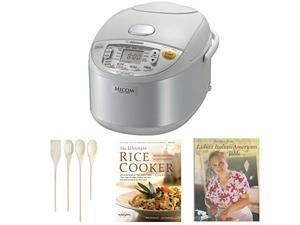 Zojirushi NS-YAC10 Umami Micom Rice Cooker and Warmer (Pearl White, 5.5 Cup Capacity) Bundle with Tools and Two Cookbooks